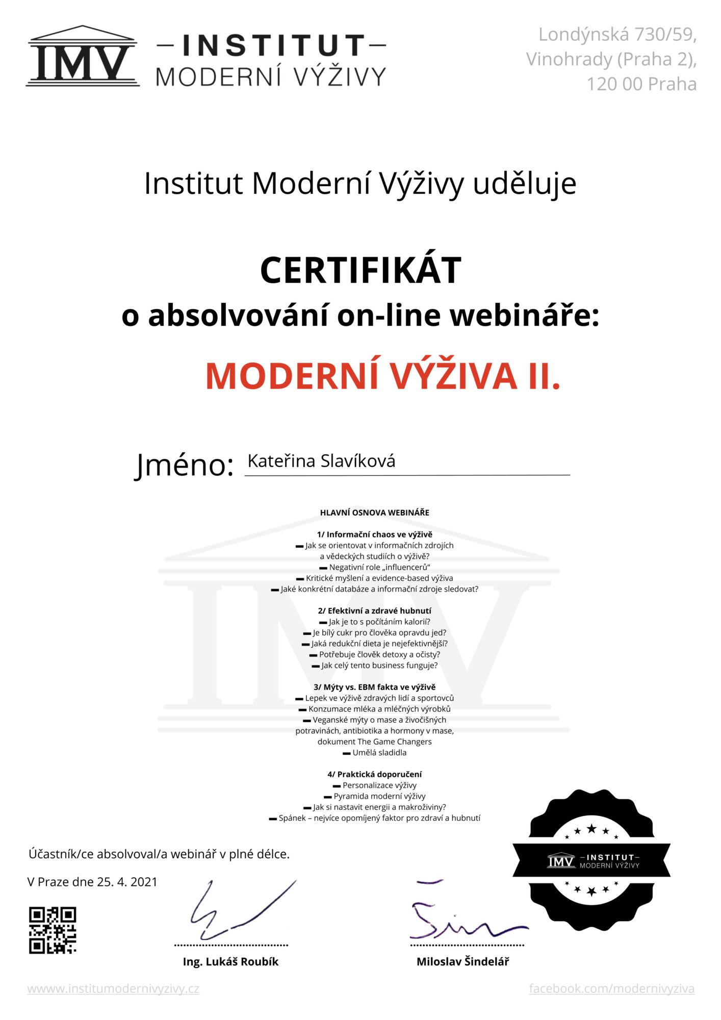 Certifikát Kateřina Slavíková